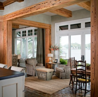 Renovated False River, Louisiana residence completed by Ourso Design of Baton Rouge, Louisiana.